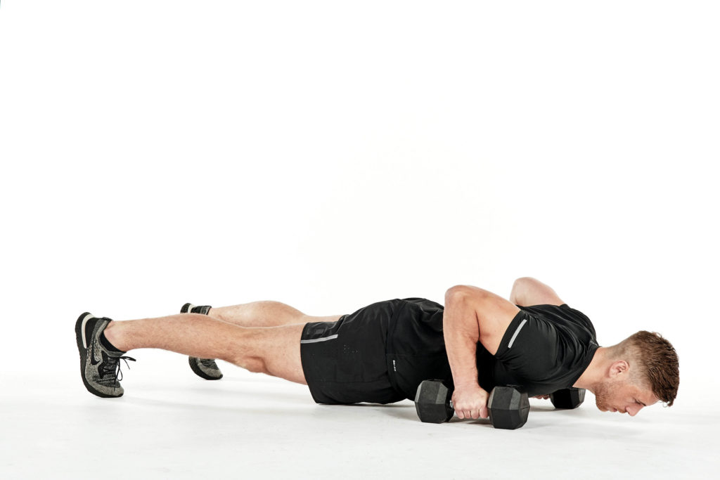 dumbbell workout pushup